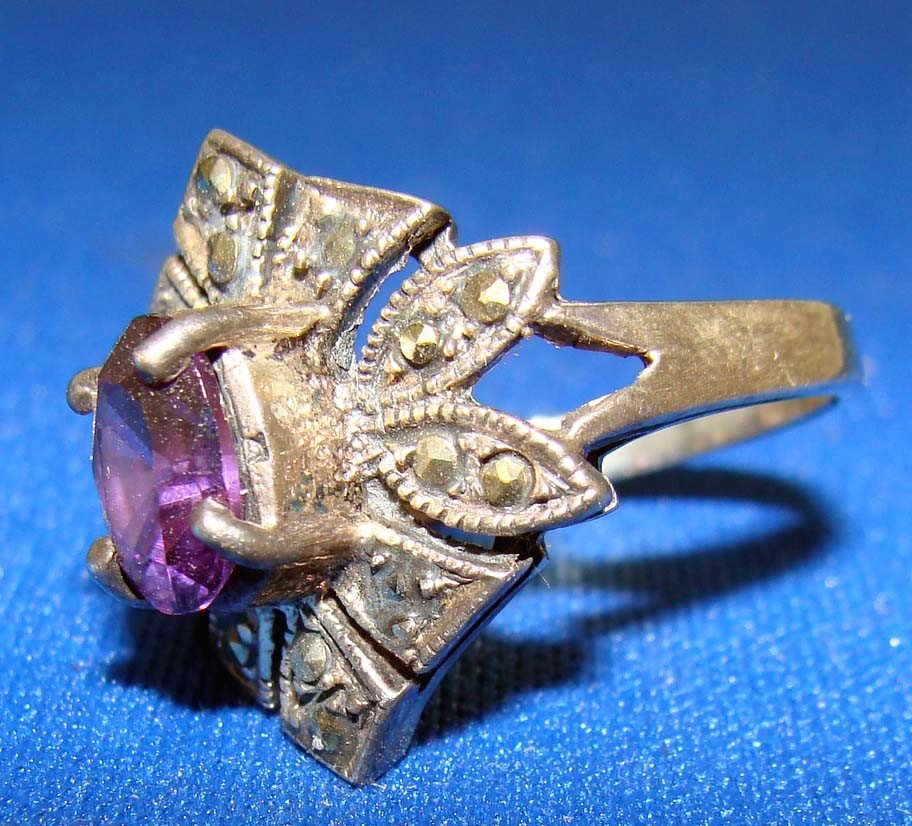 Marquesite Ring Silver .925 With Dark Purple Amethyst