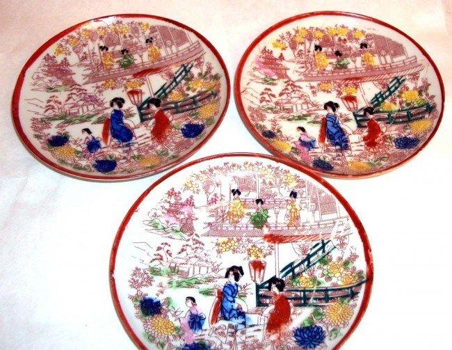 Three antique porcelain Japanese Geisha dishes