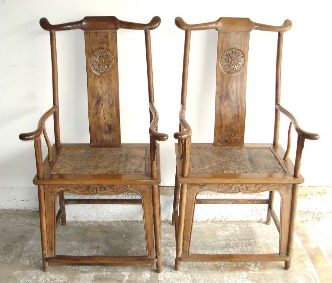 Pair antique chinese Huang hua li chairs 18th Century