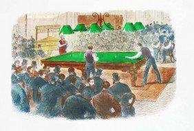 Oxford Vs Cambridge Billiards Match 19th C Lithograph
