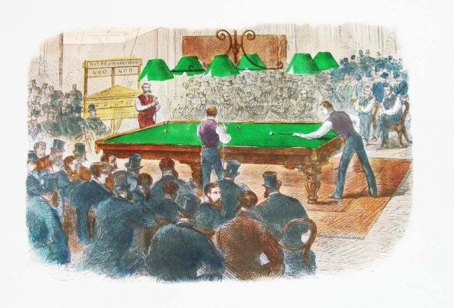 Oxford Vs Cambridge Billiards Match 19th C Lithograph