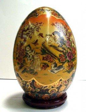 "12"" Tall Porcelain Cloissone Egg Cats at Play Asian"