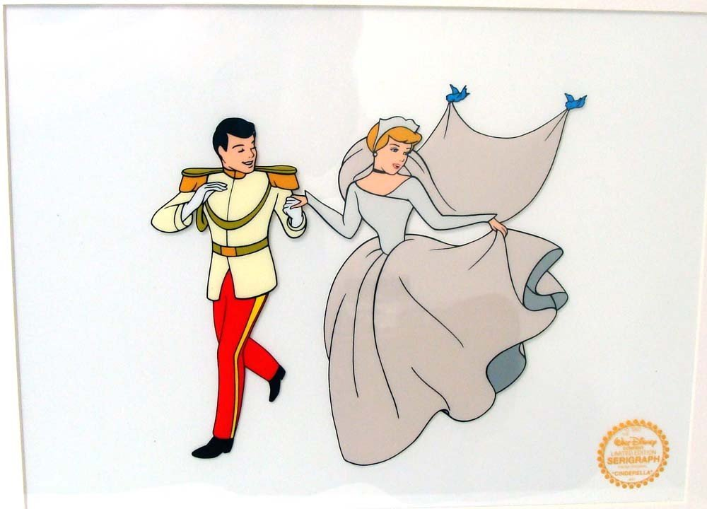 Disney Animation Art Sericel Cinderella & Prince Framed