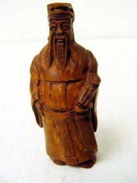 Chinese Carved Wood Buddah Figurine