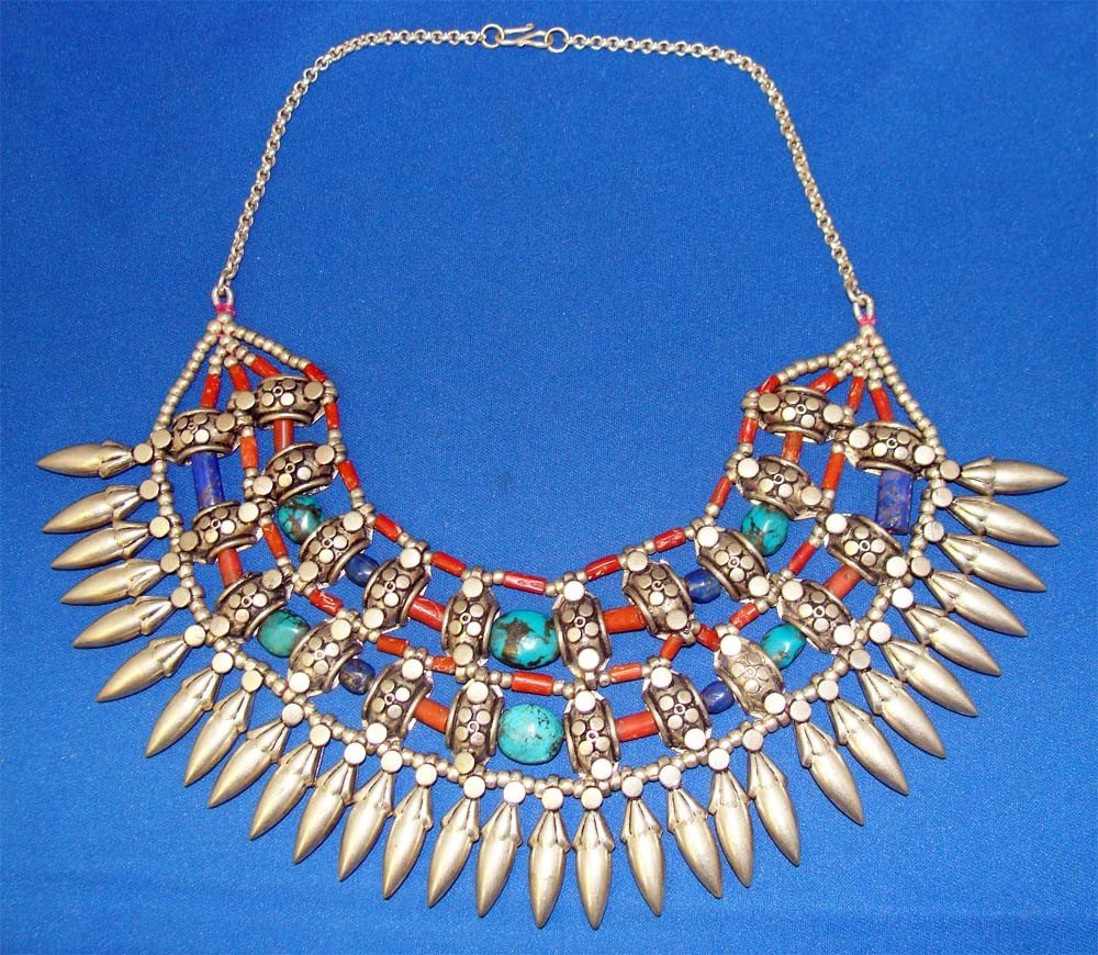Nepal Sterling Silver Necklace Turquoise Coral & Lapis