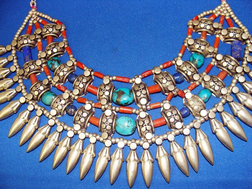 Nepal Sterling Silver Necklace Turquoise Coral & Lapis - 2