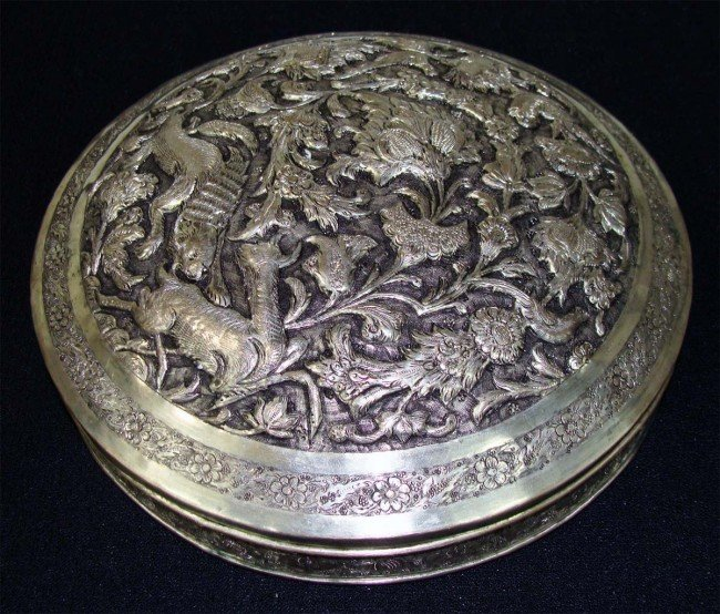 Large Antique persian Silver Engraved Round Box w Lid