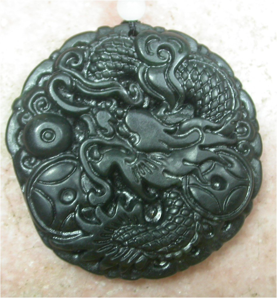 CHINESE Black JADE Pendant Dragon