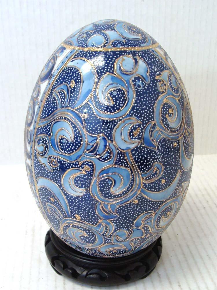 Chinese Blue Porcelain Enameled Egg Blue on White - 2