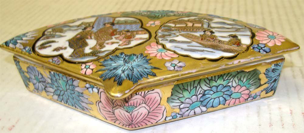 Fan Shape Porcelain Decorated Chinese Box with ladies - 2