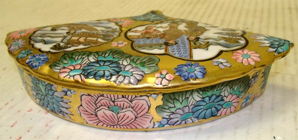 Fan Shape Porcelain Decorated Chinese Box with ladies - 3