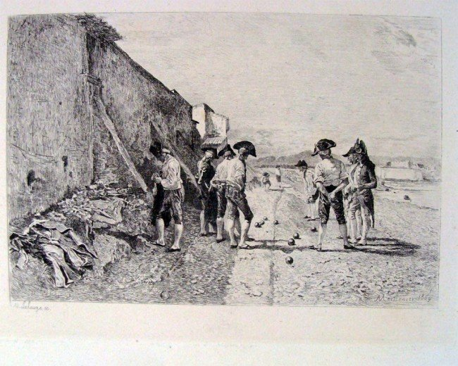 Adolphe Lalauze Soldiers Bowling (After Meissonier)