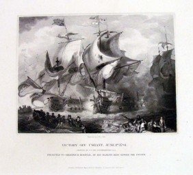 Victory Off Ushant 1832 British Navy Battle Engraving