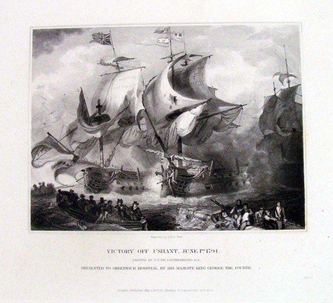 Victory Off Ushant 1832 British Navy Battle Engraving