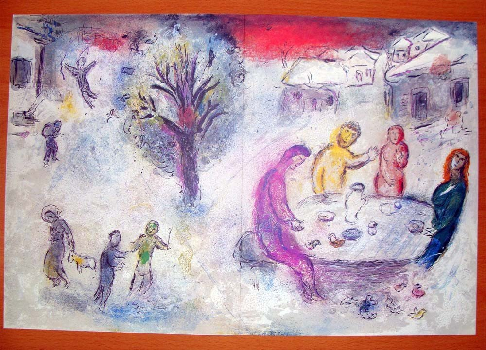 """After Chagall Daphne & Chloe Litho 19"""" by 12"""" Verve Ed"""