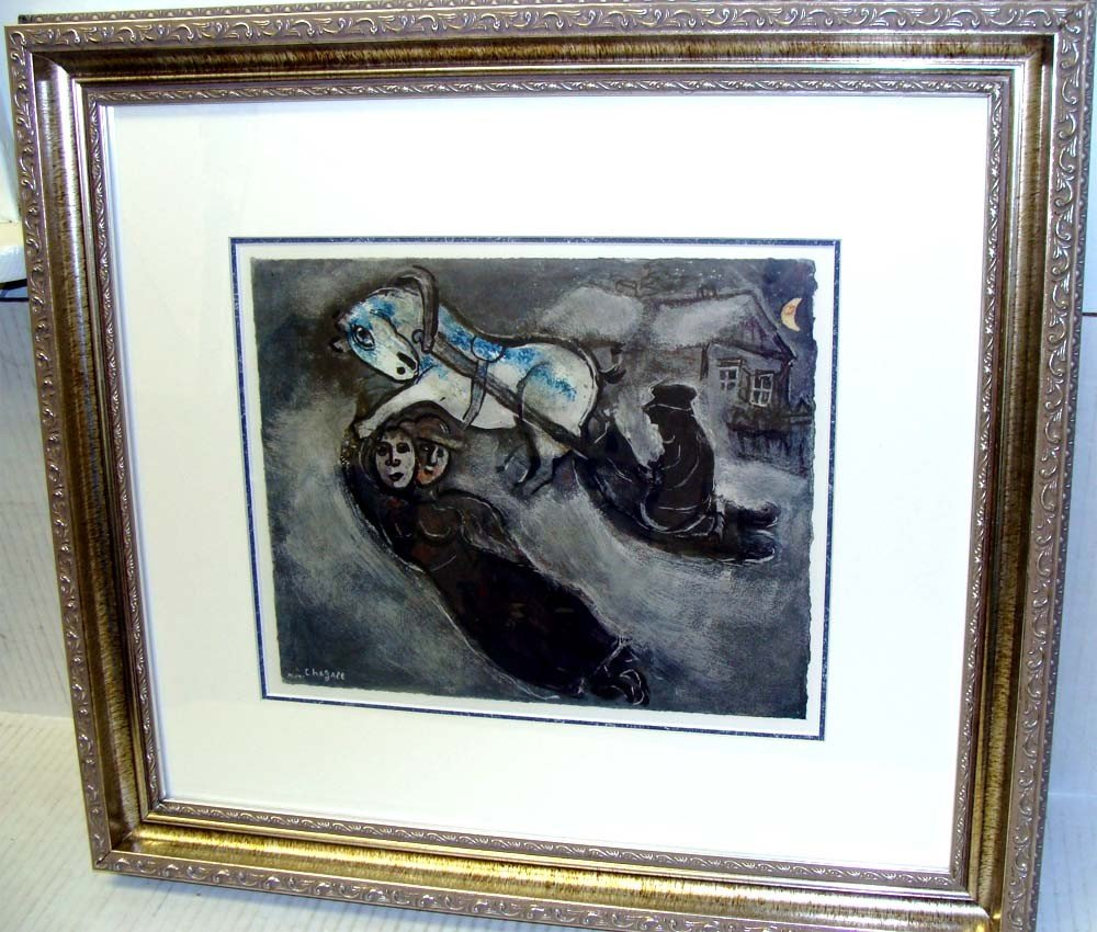 """Chagall Framed """"In The Snow"""" Rare Colored Collotype"""