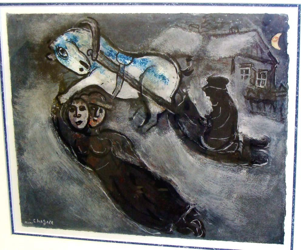 """Chagall Framed """"In The Snow"""" Rare Colored Collotype - 2"""