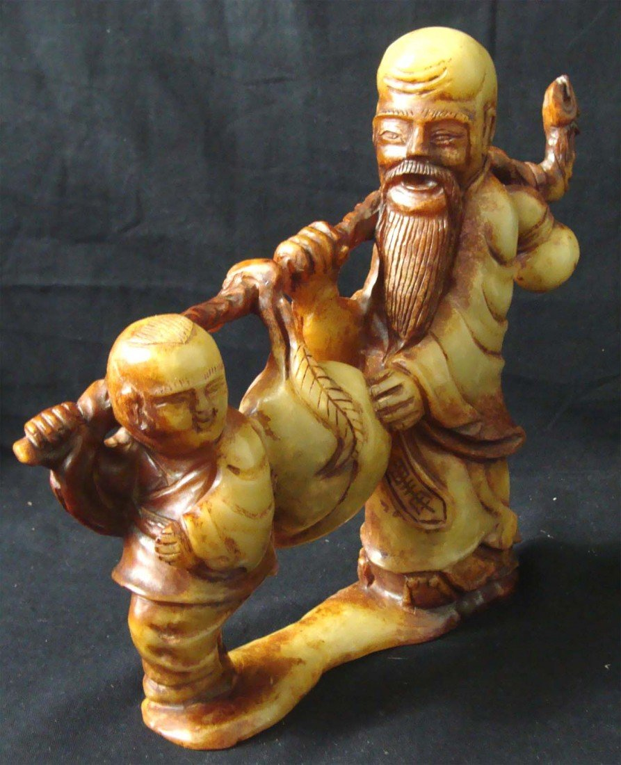Chinese Carved Longevity Stone Man and Boy Walking - 2
