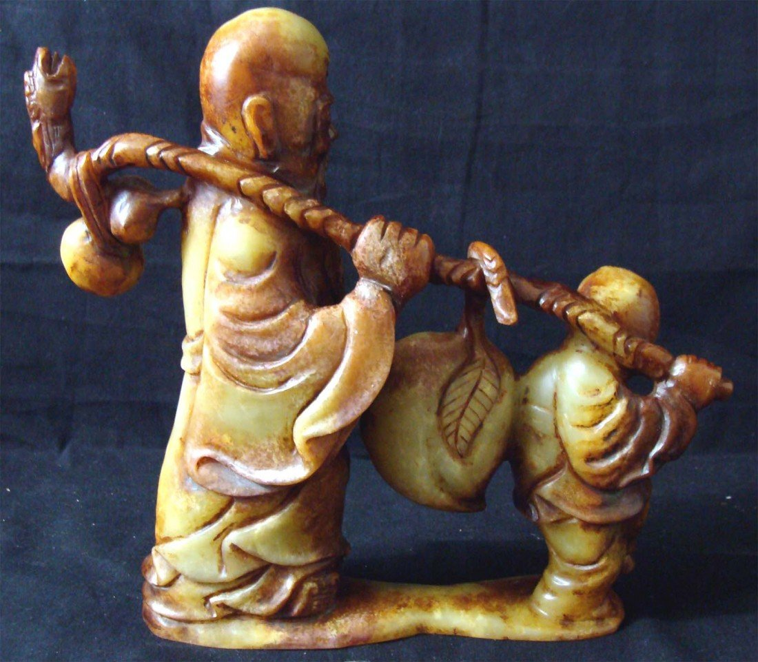 Chinese Carved Longevity Stone Man and Boy Walking - 3