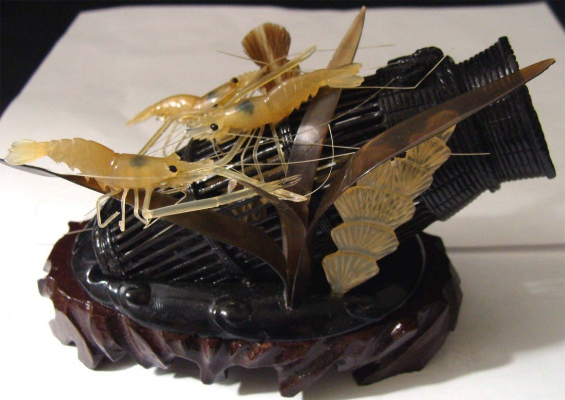 Antique Chinese Carved Ox Horn with Prawns
