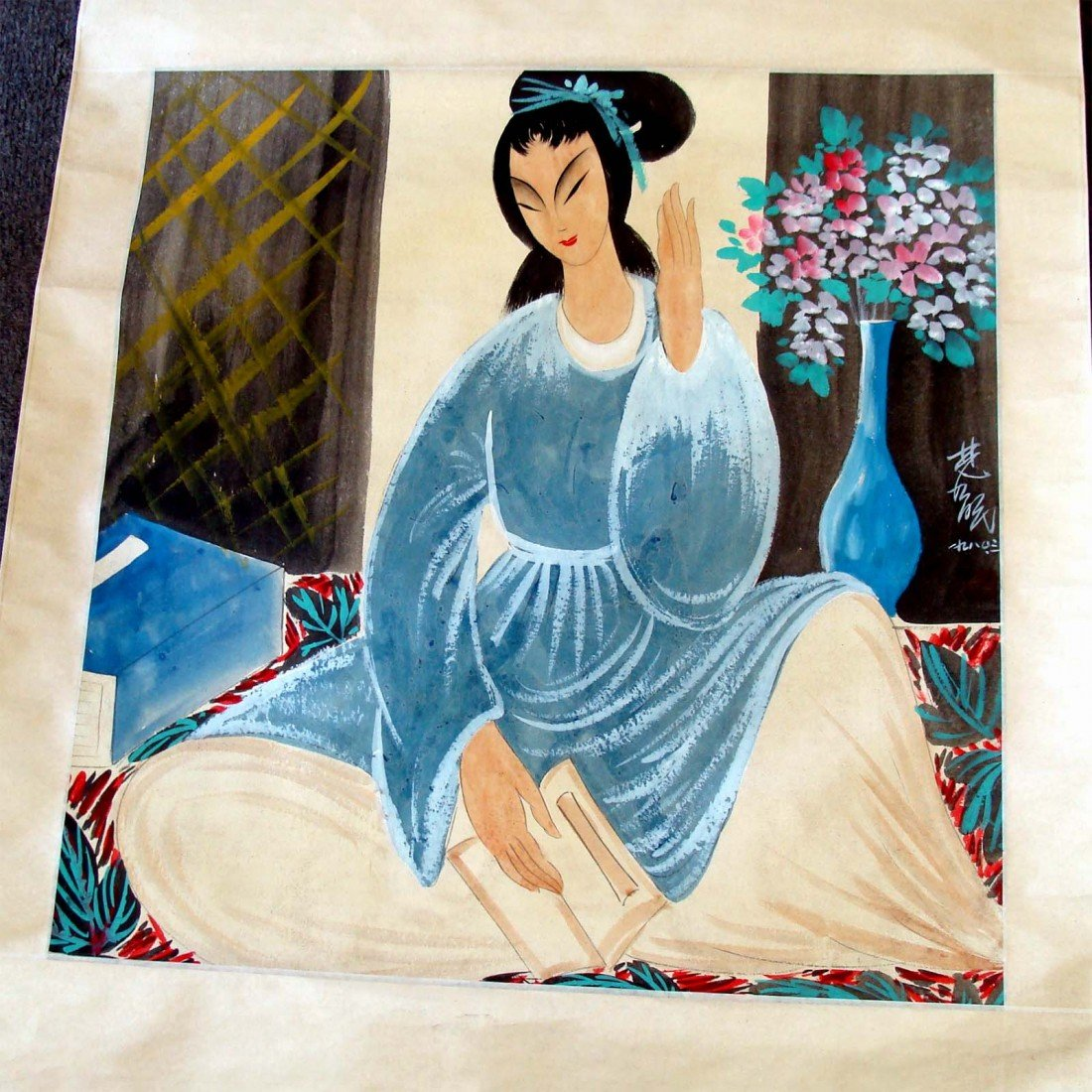 Antique Chinese Scroll Painting Woman With Book