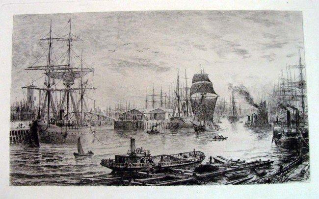 19th Century British Harbor Engraving Signed