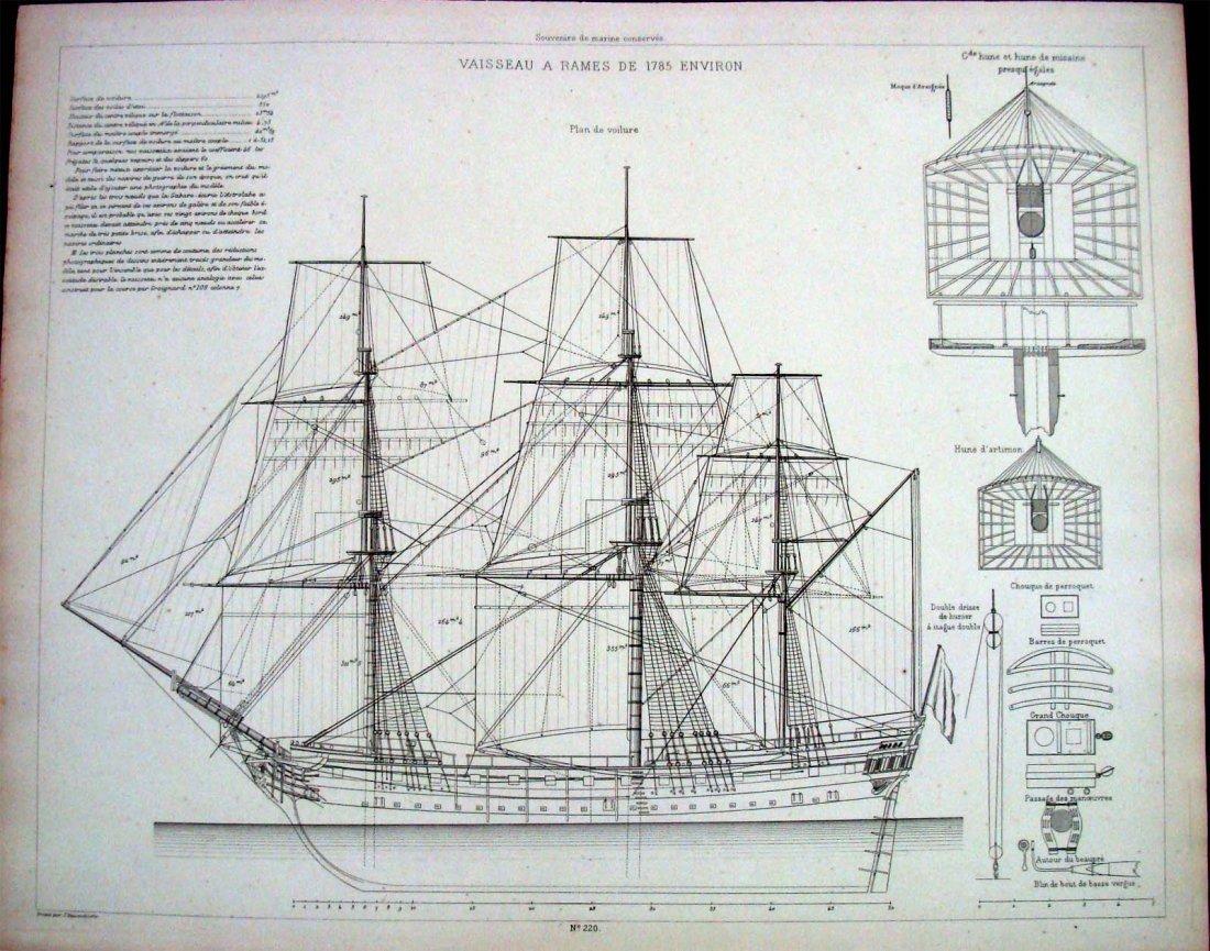 Schematic Plans For 1785 Ship Vaisseau A Rames Environ