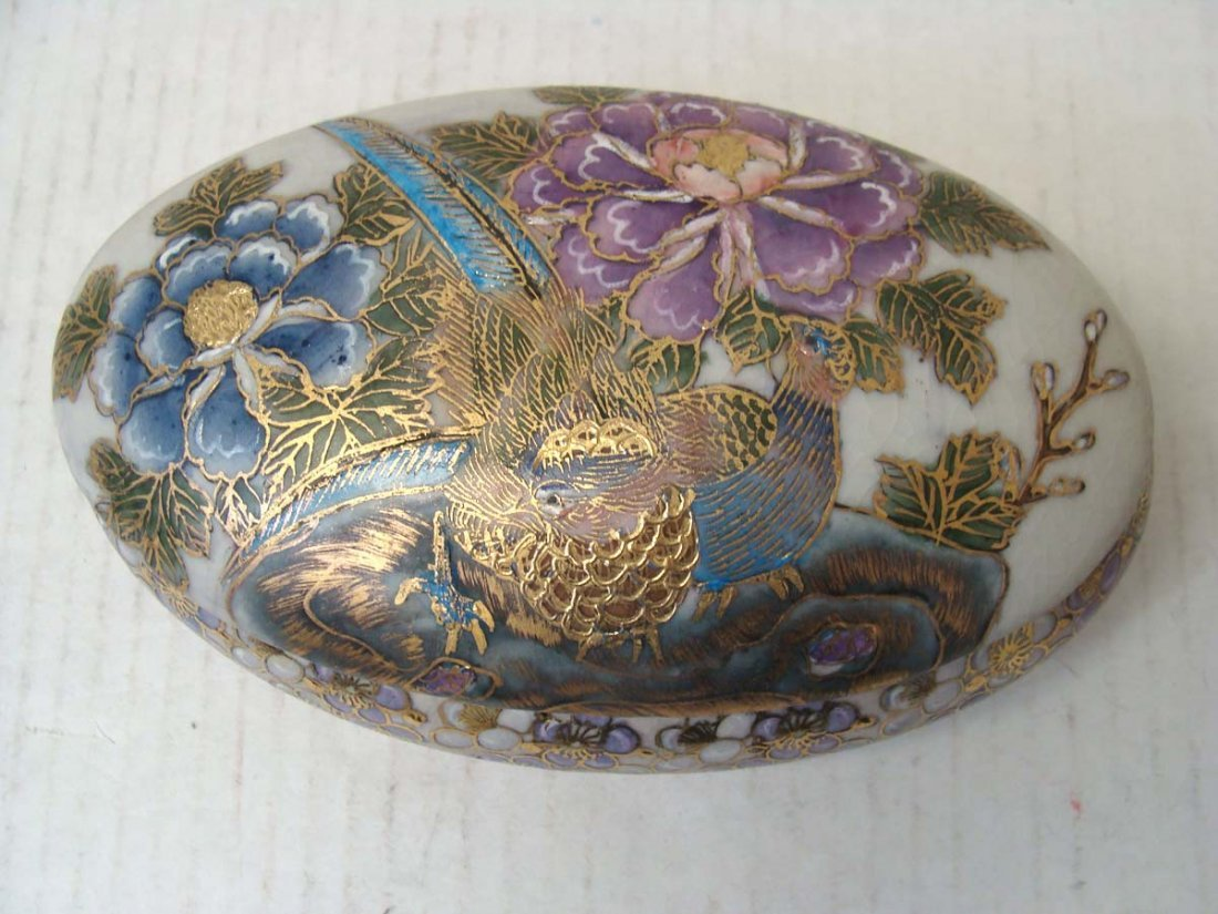 Chinese Porcelain Enameled Oval Jewelry Box w Lid
