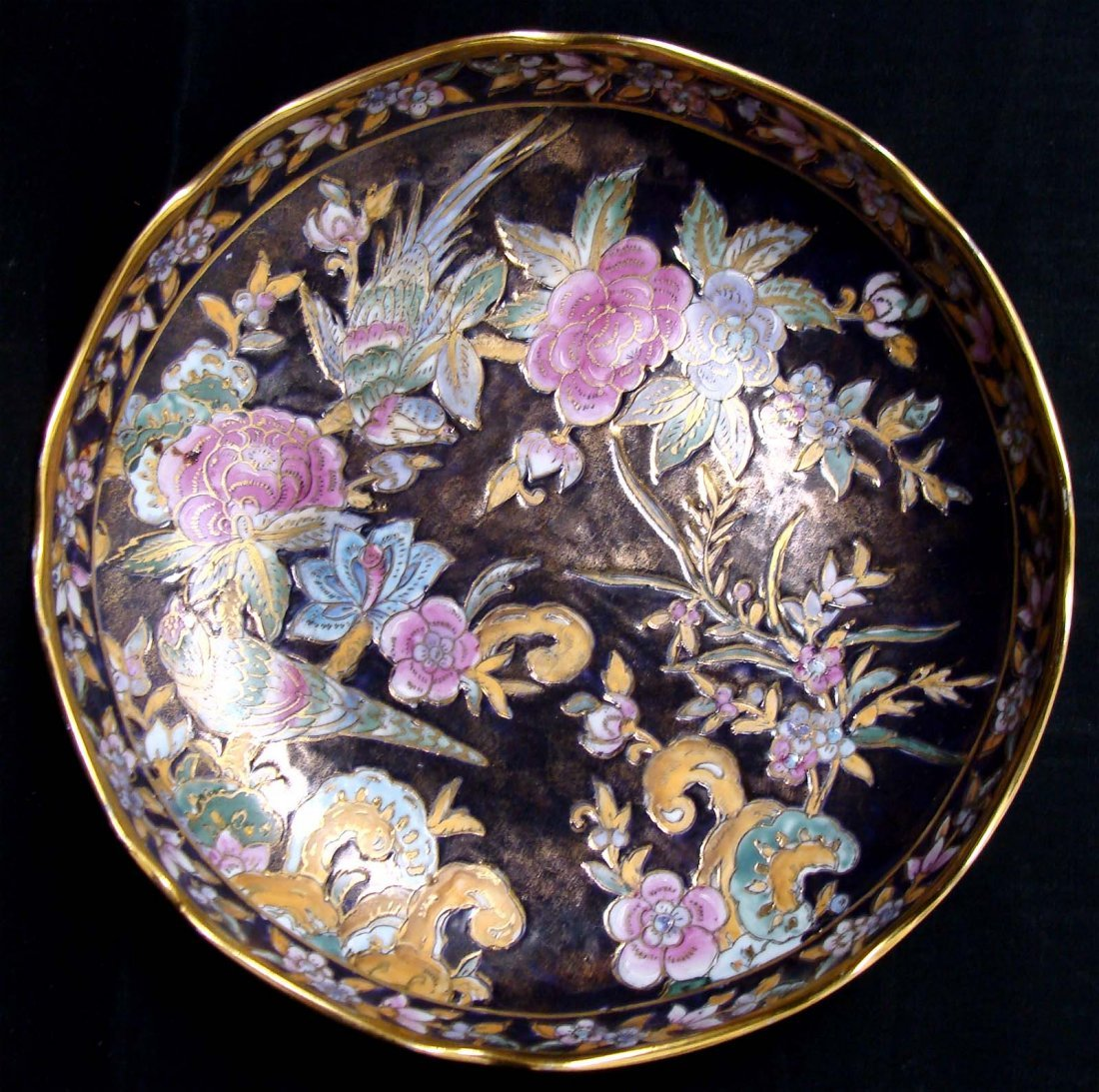 Chinese Cloissone Birds & Flowers on Black Bowl