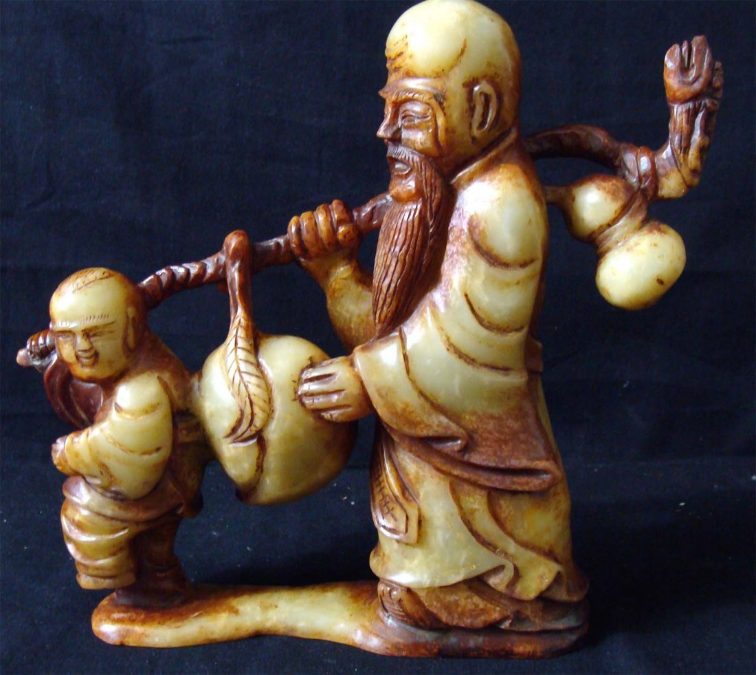 Chinese Carved Longevity Stone Man and Boy Walking