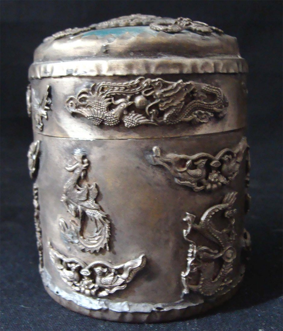 Chinese Etched Dragons Metal Container with Lid
