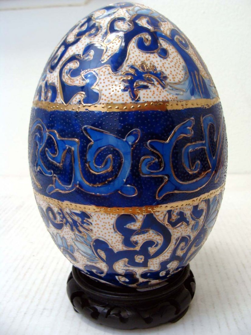 Chinese Blue Porcelain Enameled Egg Dragon Design