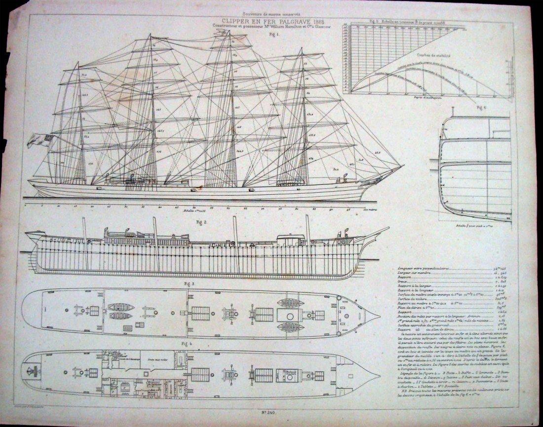 Schematic Plans For 1888 Clipper Ship En Fer Palgrave
