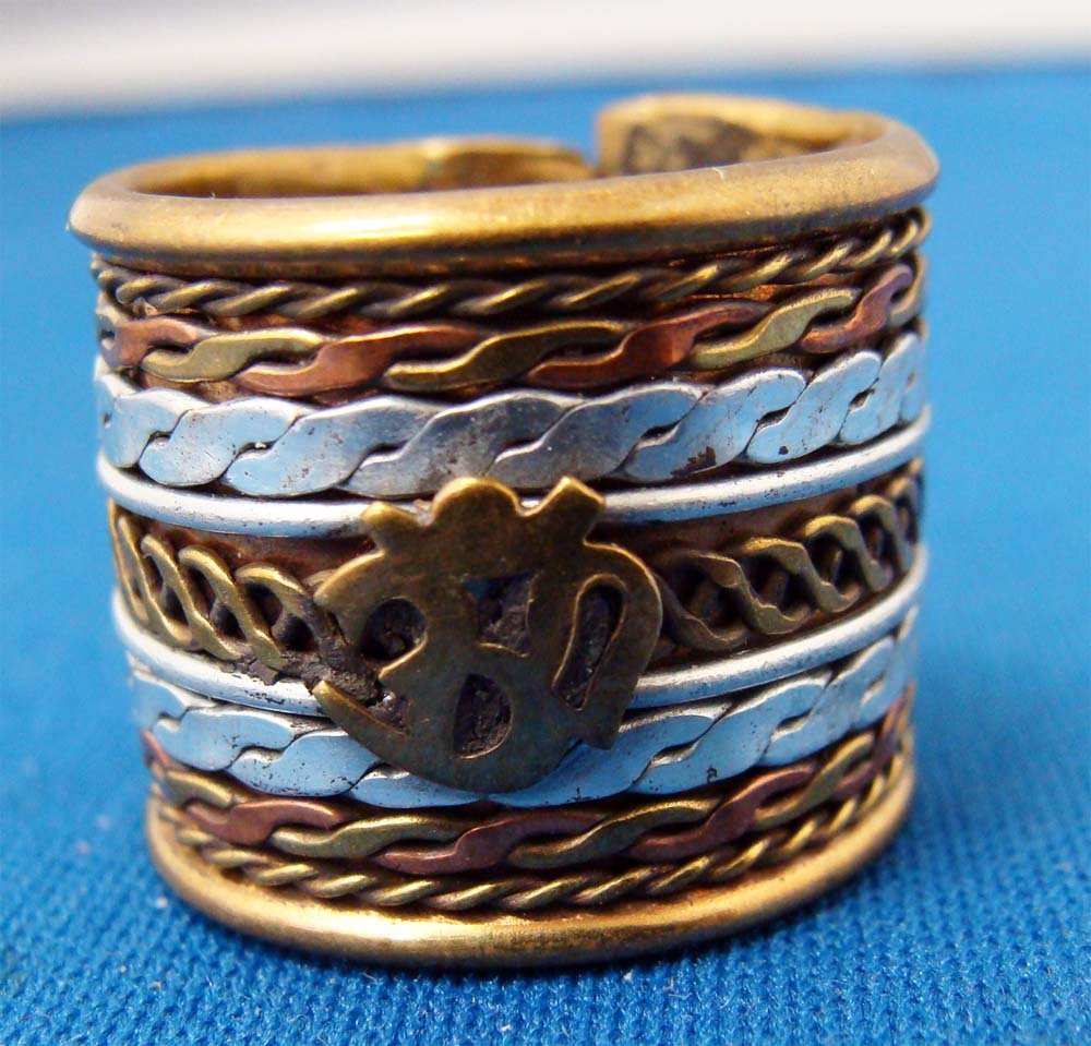 Nepal Tricolor Silver Gold Copper Ring
