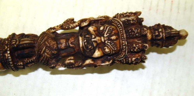 Antique Tantrik Tibetean Yak Bone Vajrakilaya Phurba - 2