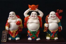 Chinese Ceramic Three Happy Buddahs With Fortunes