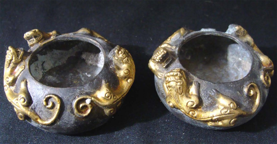 Lot of Two Bronze Metal Etched Chinese Bowls