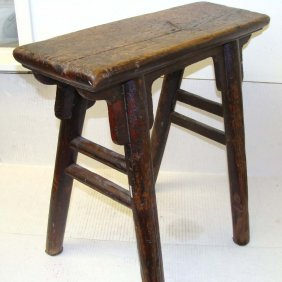 Large Antique Chinese Wood Stool