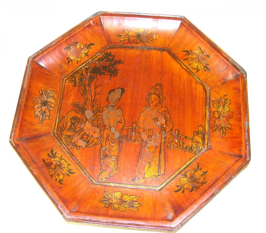 Wooden Bowl with Chinese Floral design