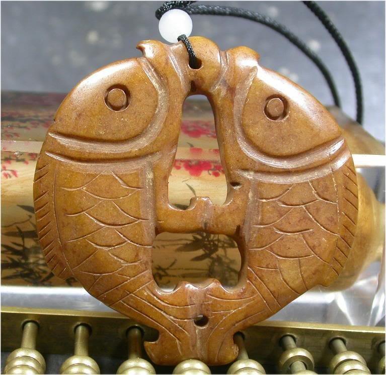 CHINESE Brown JADE Pendant Twin Fish Amulet