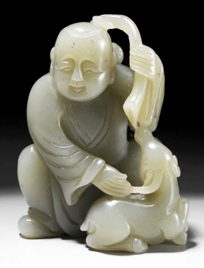 Chinese character w goat qing dynasty hetian Jade.