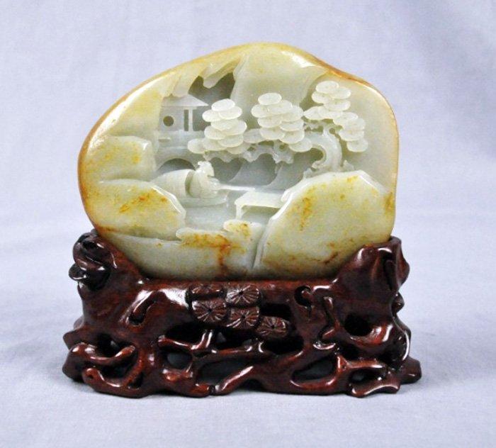 Antique chinese scholar carved hetian jade boulder