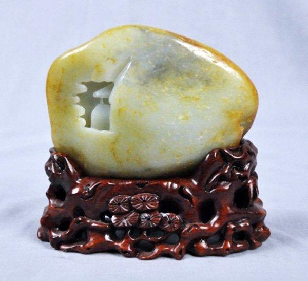 Antique chinese scholar carved hetian jade boulder - 2