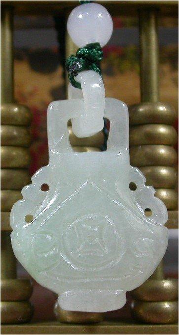 Green 100% Natural A JADE JADEITE PENDANT Vase W Ring