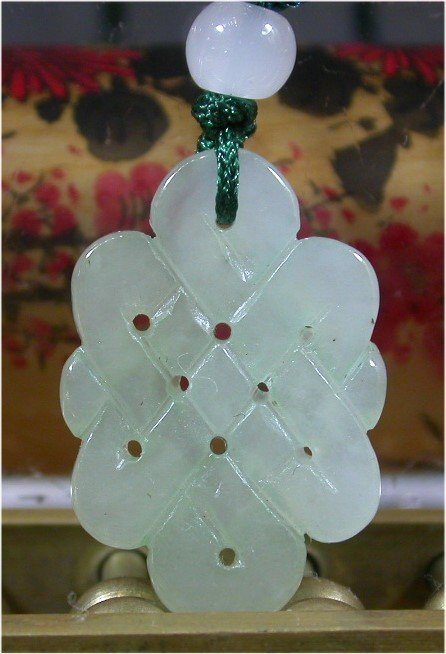 Green 100% Natural A JADE JADEITE PENDANT Knotted Amule