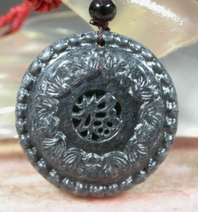 CHINESE Black JADE Pendant Bat * FU Word * Circle