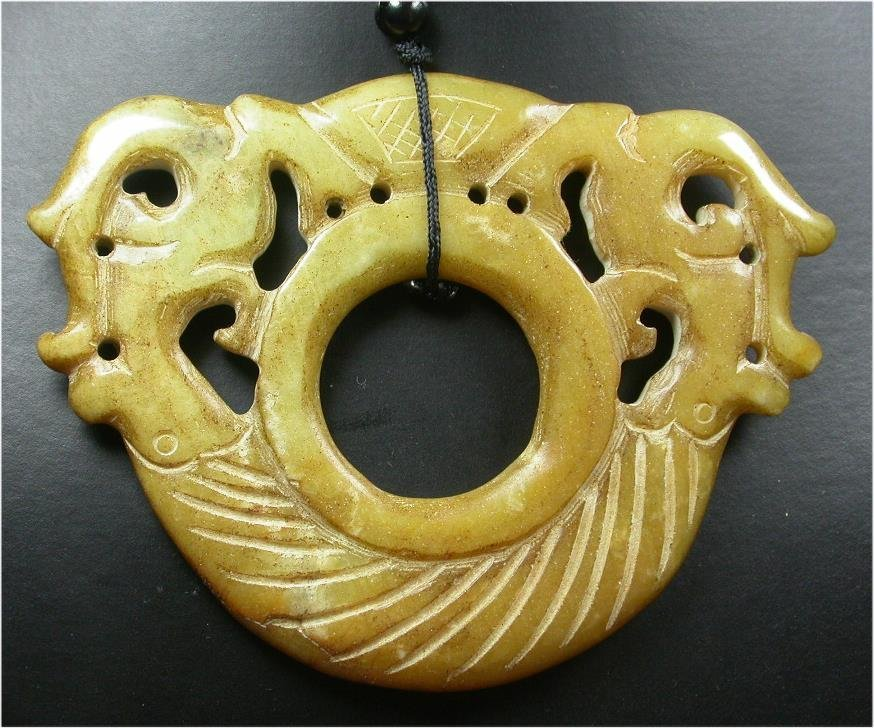 CHINESE Brown JADE Pendant OLD Dragon