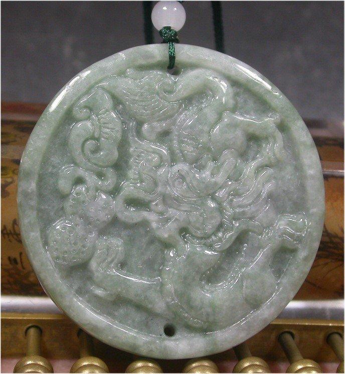 Green 100% Natural A JADE JADEITE PENDANT Dragon Ruyi