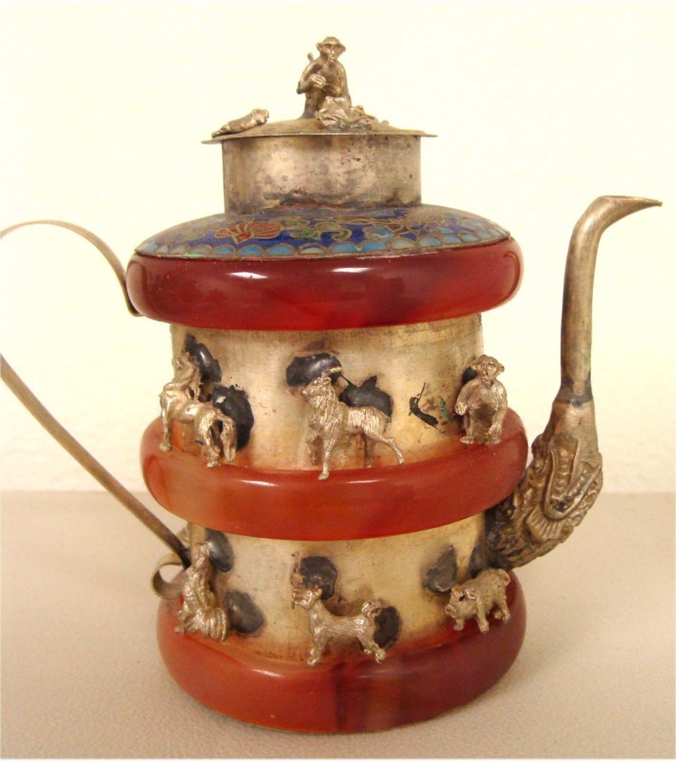 Chinese Jade Bangles Cloisonne Wine Teapot w 12 Animals