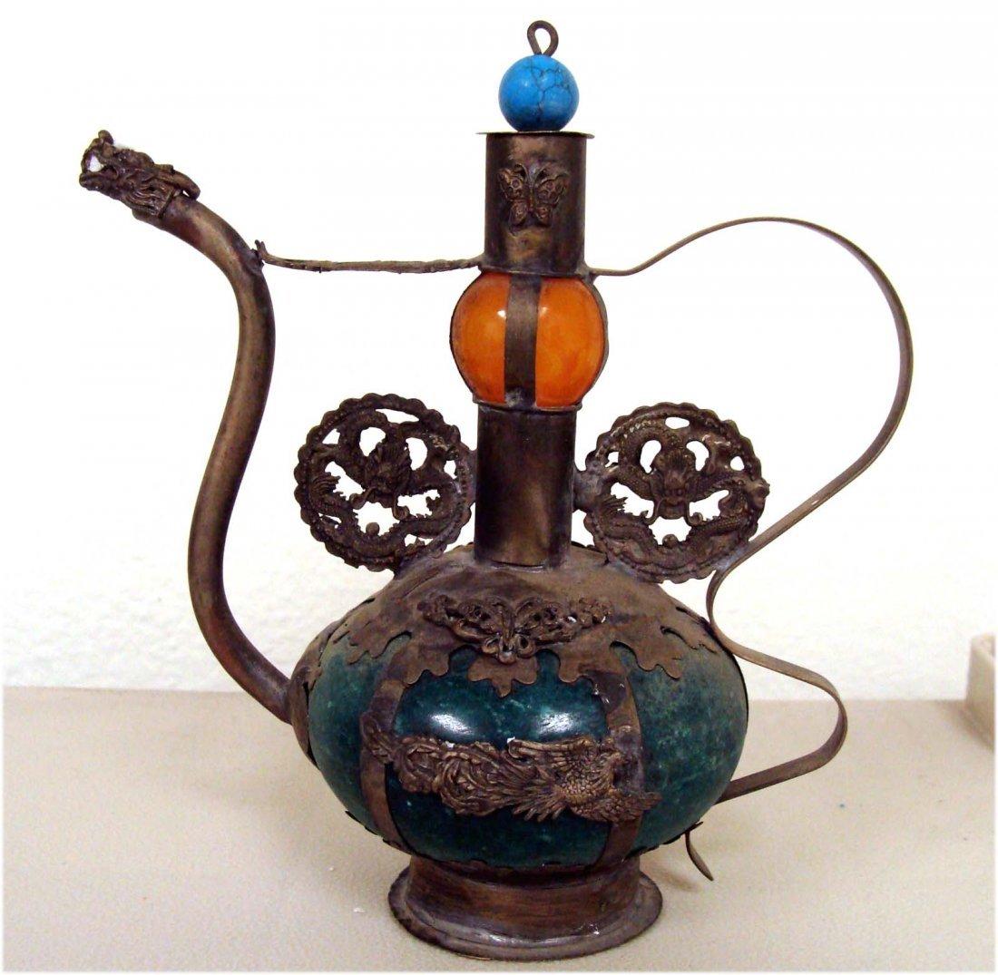 Chinese Turquoise Dragon Phoenix Teapot